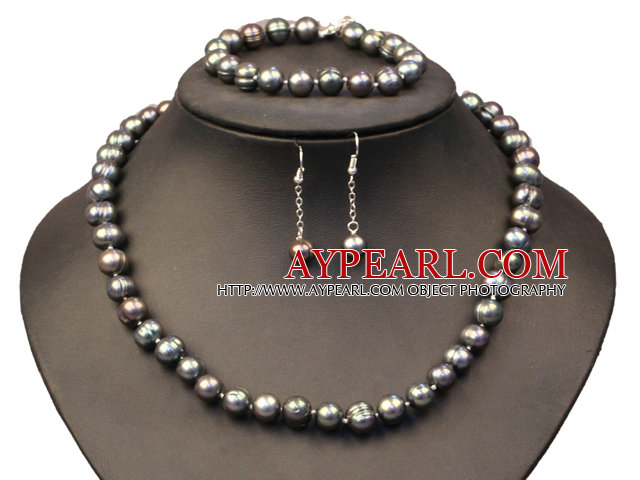 Fashion Natural Round Phoenix Stone Beaded Necklace With Matched Elastic Bracelet Jewelry Set
