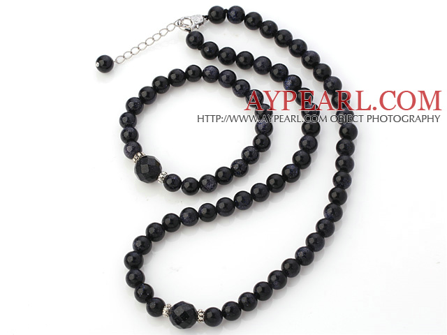 Fashion Natural Round Blue Sandstone Beaded Necklace With Matched Elastic Bracelet Jewelry Set