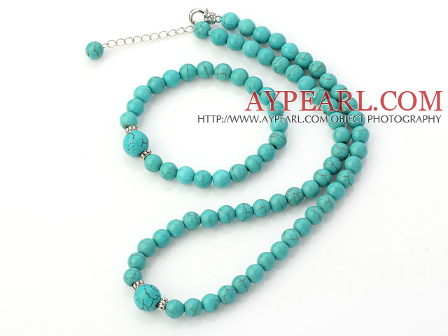 Fashion Natural Round Turquoise Beaded Necklace With Matched Elastic Bracelet Jewelry Set