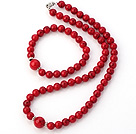 Fashion Natural Round Bloodstone Beaded Necklace With Matched Elastic Bracelet Jewelry Set