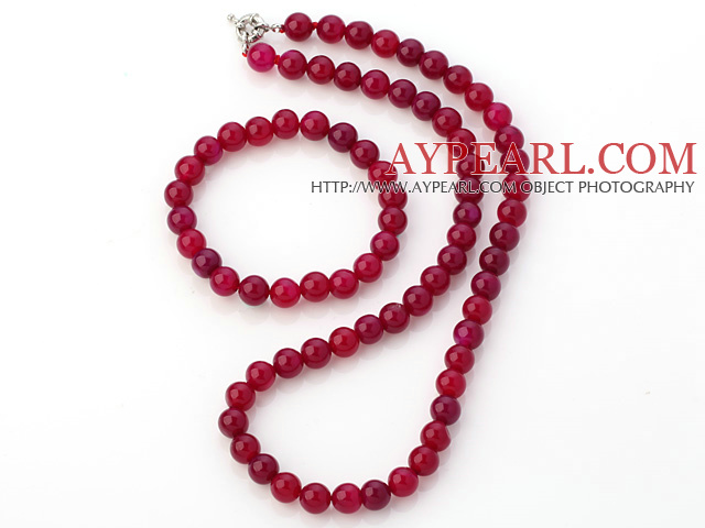 Fashion Natural 8mm Round Rose Agate Beaded Necklace With Matched Elastic Bracelet Jewelry Set