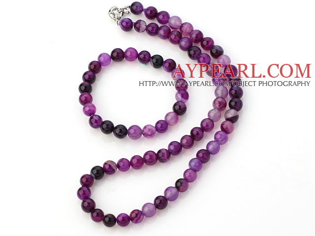 Fashion Natural 8mm Round Purple Banded Agate Beads Necklace With Matched Elastic Bracelet Jewelry Set