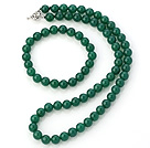 Nice Natural A Grade 8mm Round Green Agate Beaded Necklace With Matched Elastic Bracelet Jewelry Set