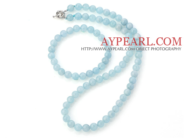 Nice Natural A Grade 8mm Round Aquamarine Beaded Necklace With Matched Elastic Bracelet Jewelry Set