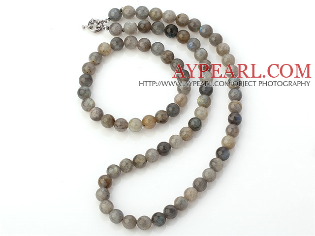 Nice Natural 8mm Round Snow Stone Beaded Necklace With Matched Elastic Bracelet Jewelry Set