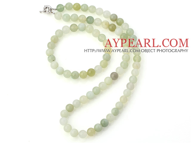 Pretty Natural 8mm Round Serpentine Jade Beaded Necklace With Matched Elastic Bracelet Jewelry Set