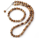 Wholesale Pretty Natural 8mm Round Picture Jasper Beaded Necklace With Matched Elastic Bracelet Jewelry Set