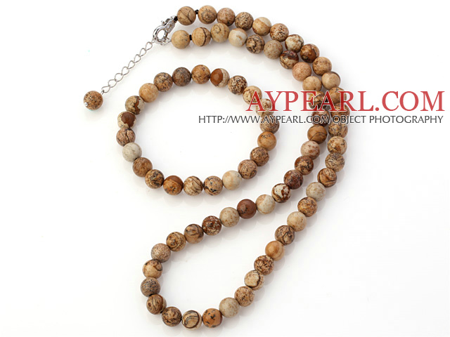 Pretty Natural 8mm Round Picture Jasper Beaded Necklace With Matched Elastic Bracelet Jewelry Set