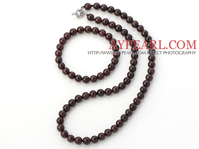 Pretty Natural A Grade 8mm Round Garnet Beaded Necklace With Matched Elastic Bracelet Jewelry Set