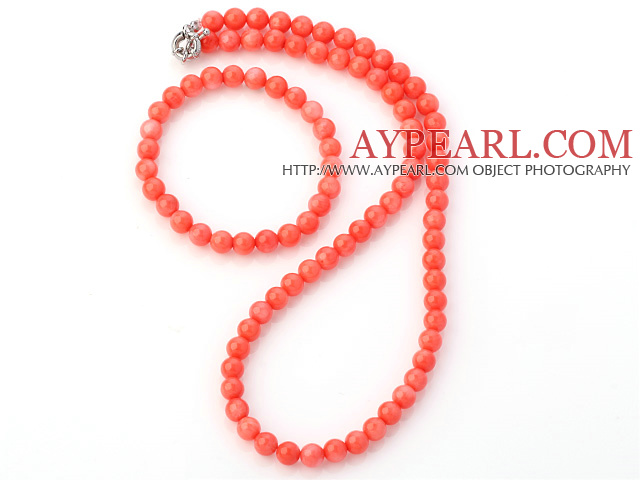 Charming Natural 7mm Round Pink Coral Beaded Necklace With Matched Elastic Bracelet Jewelry Set