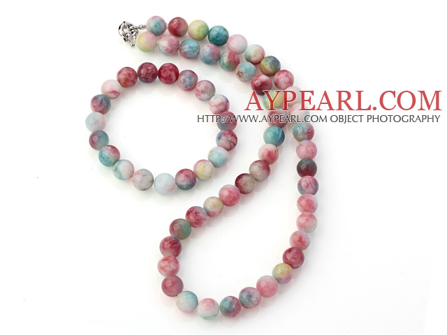 Charming Natural 10mm Round Watermelon Jade Beaded Necklace With Matched Elastic Bracelet Jewelry Set
