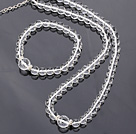 Nice Natural Round White Crystal Beaded Necklace With Matched Elastic Bracelet Jewelry Set