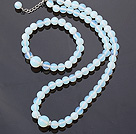 Nice Natural Round White Blue Opal Beaded Necklace With Matched Elastic Bracelet Jewelry Set