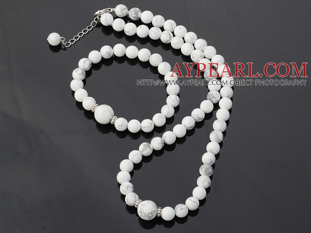 Nice Round White Turquoise Beaded Necklace With Matched Elastic Bracelet Jewelry Set