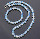Fashion 7mm Round White Blue Opal Beaded Necklace With Matched Elastic Bracelet Jewelry Set