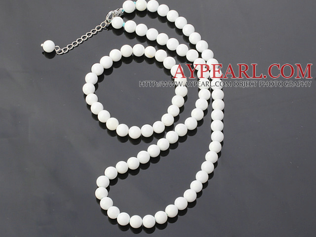 Fashion 8mm Round White Shell Beads Necklace With Matched Elastic Bracelet Jewelry Set