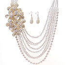 Fashion Multilayer Natural White Freshwater Pearl Crystal And Shell Flower Sets (Necklace With Matched Earrings)