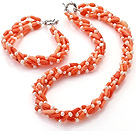Fashion Multi Strands Twisted White Freshwater Pearl And Orange Coral Sets (Necklace With Matched Bracelet)