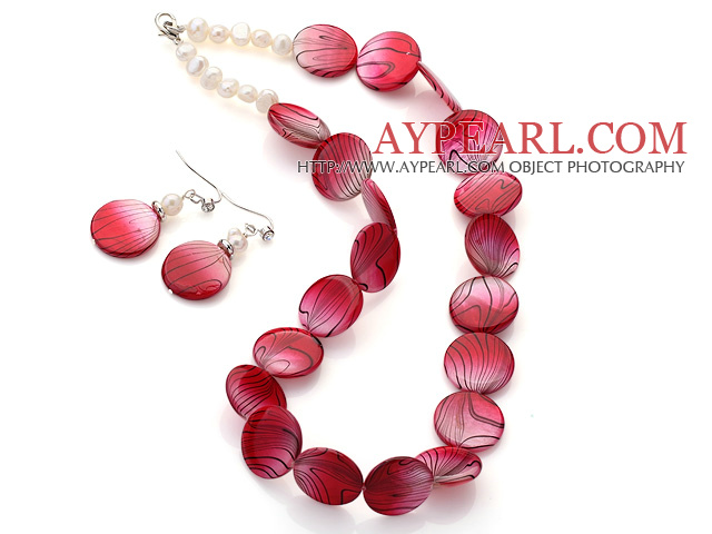 Fashion White Freshwater Pearl And Red Round Disc Painted Shell Sets (Necklace With Matched Earrings)