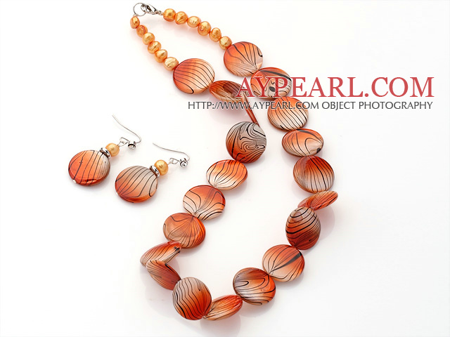 Fashion Orange Series Freshwater Pearl And Round Disc Painted Shell Sets (Necklace With Matched Earrings)