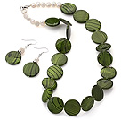 Fashion White Freshwater Pearl And Green Round Disc Painted Shell Sets (Necklace With Matched Earrings)