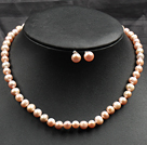 Fashion Black Series Freshwater Pearl And Round Disc Painted Shell Sets (Necklace With Matched Earrings)