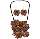 Fashion Natural Brown Series Shell Pearl Flower Sets (Black Leather Necklace With Matched Earrings)