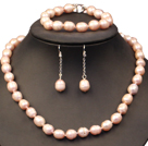 Graceful Mother Gift 9-10mm Natural Purple Freshwater Pearl Jewelry Set (Necklace, Bracelet & Earrings)
