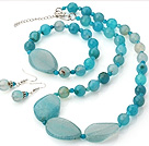 Pretty Round Faceted And Irregular Blue Agate Beads Sets (Necklace Bracelet With Matched Earrings)