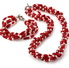 Fashion Multi Strands Twisted Natural White Freshwater Pearl And Red Coral Sets (Necklace With Matched Bracelet)