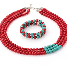 Wholesale Wonderful Multi Strands Round Red Coral And Green Turquoise Sets (Necklace With Stretchy Bracelet)