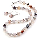 Fashion Faceted Round Banded Gray Agate Jewelry Sets (Necklace With Matched Earrings)
