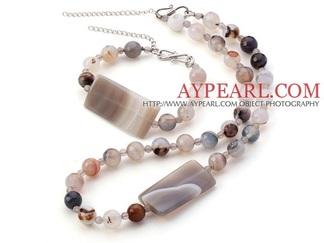 Fashion Round And Rectangle Gray Agate Sets With S Clasp (Necklace With Matched Bracelet)