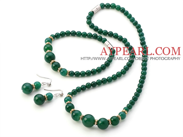Nice A Grade Round Green Agate Beaded Sets With Magnetic Clasp (Necklace Bracelet With Matched Earrings)