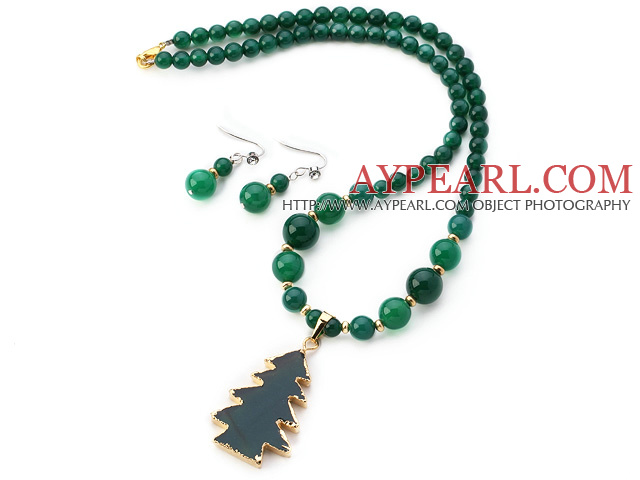 Fashion Round Green Agate Beaded Sets (Golden Wired Wrap Agate Tree Pendant Necklace With Matched Earrings)