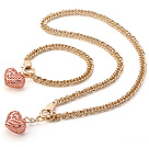 Fashion Golden Loop Metal Chain And Rose Gold Heart Pendant Sets (Necklace With Matched Bracelet)