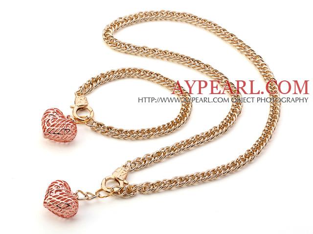 Μόδα Χρυσή Loop μεταλλική αλυσίδα και Rose Gold καρδιά κρεμαστό κόσμημα Σετ  ( κολιέ με ασορτί βραχιόλι ) 1b137684fbb