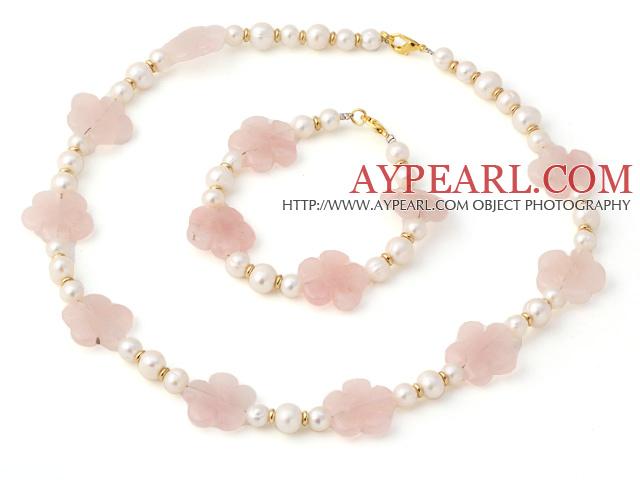 Fashion Natural White Freshwater Pearl And Rose Quartz Flower Necklace Bracelet Sets
