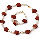 Fashion Natural White Freshwater Pearl And Red Marble Flower Necklace Bracelet Sets