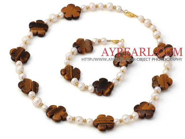 Fashion Natural White Freshwater Pearl And Tiger Eye Flower Sets (Necklace With Matched Bracelet)