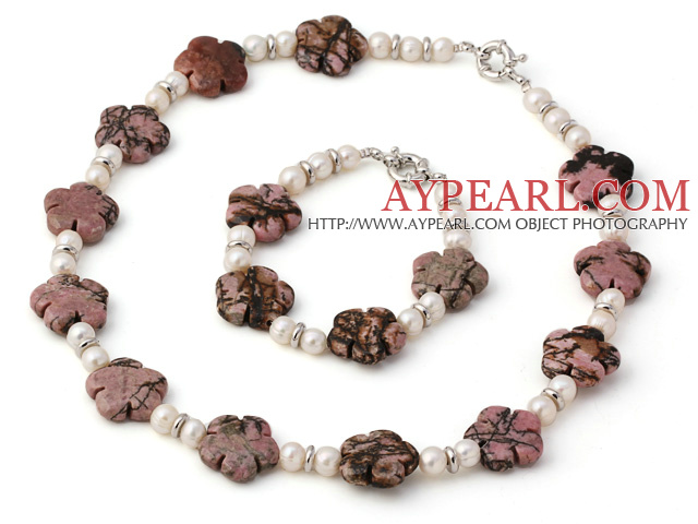 Fashion Natural White Freshwater Pearl And Rhodonite Flower Sets (Necklace With Matched Bracelet)