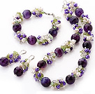 Popular Cluster Freshwater Pearl Crystal Olive Chips And Round Faceted Purple Agate Sets (Necklace Bracelet With Matched Earrings)