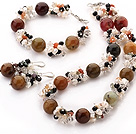 Popular Cluster Freshwater Pearl Crystal Agate Chips And Round Colorful Jade Sets (Necklace Bracelet With Matched Earrings)