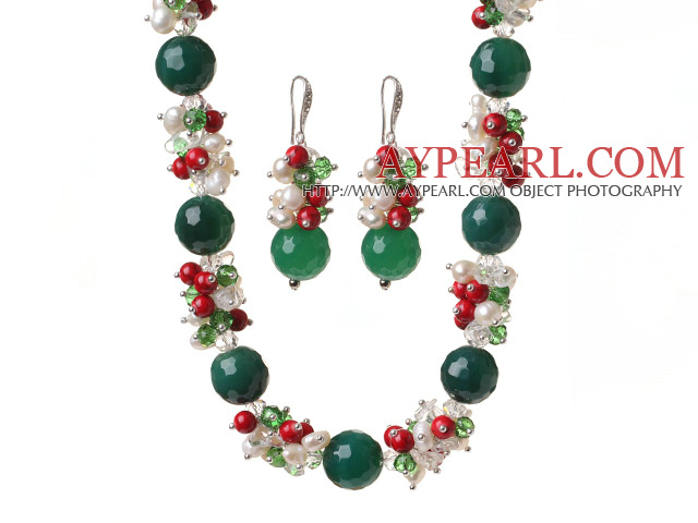 Popular Cluster Freshwater Pearl Crystal Bloodstone And Round Faceted Green Agate Sets (Necklace Bracelet With Matched Earrings)