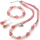Wholesale Fashion White Freshwater Pearl And Faceted Rose Cherry Quartz Sets (Necklace Bracelet With Matched Earrings)