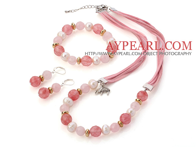 Fashion White Freshwater Pearl And Faceted Rose Cherry Quartz Sets (Necklace Bracelet With Matched Earrings)