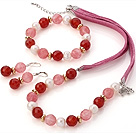 Fashion White Freshwater Pearl And Faceted Red Agate Cherry Quartz Sets (Necklace Bracelet With Matched Earrings)