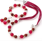 Fashion White Freshwater Pearl And Round Rose Agate Red Stone Sets (Necklace Bracelet With Matched Earrings)