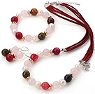 Fashion White Freshwater Pearl And Round Rose Quartz Rose Agate Sets (Necklace Bracelet With Matched Earrings)