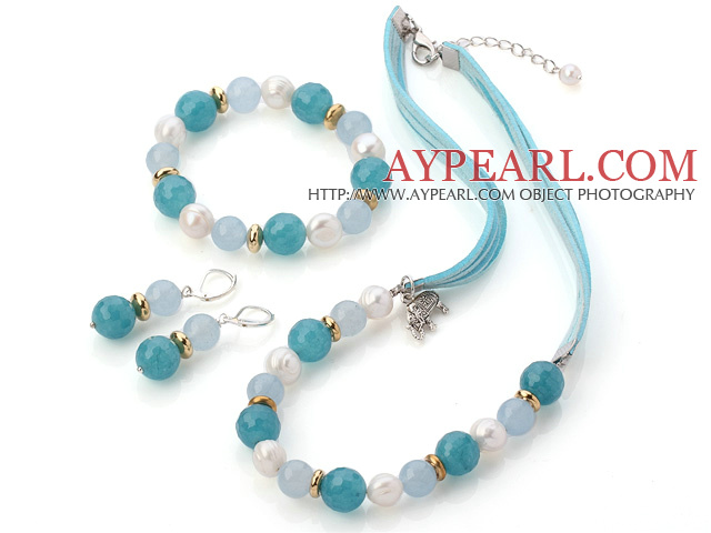 Fashion White Freshwater Pearl And Round Sponge Aquarmarine Sets (Necklace Bracelet With Matched Earrings)
